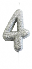 Number 4 Silver Glitter Candle